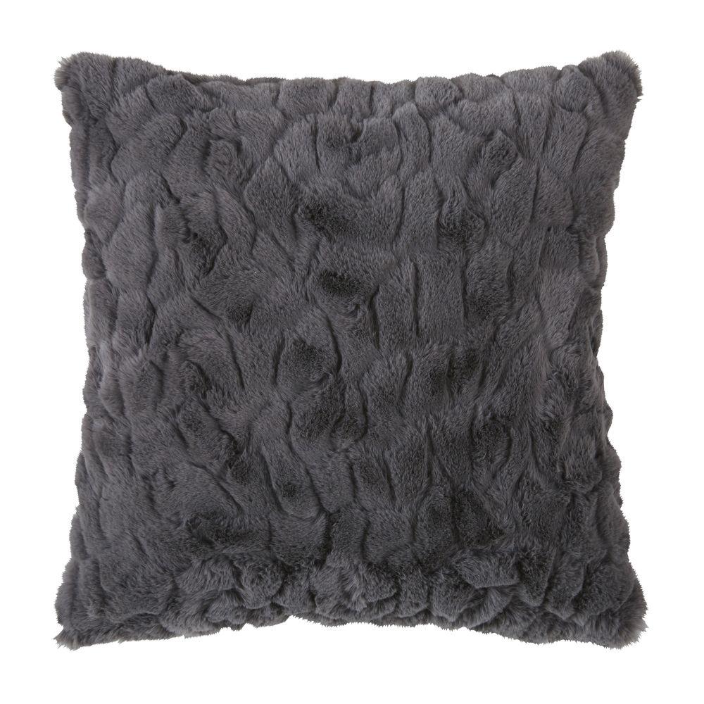 Coussin imitation fourrure gris moyen 45x45