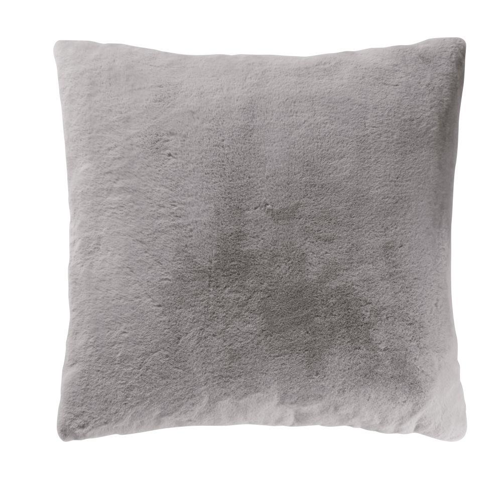 Coussin imitation fourrure grise 60x60