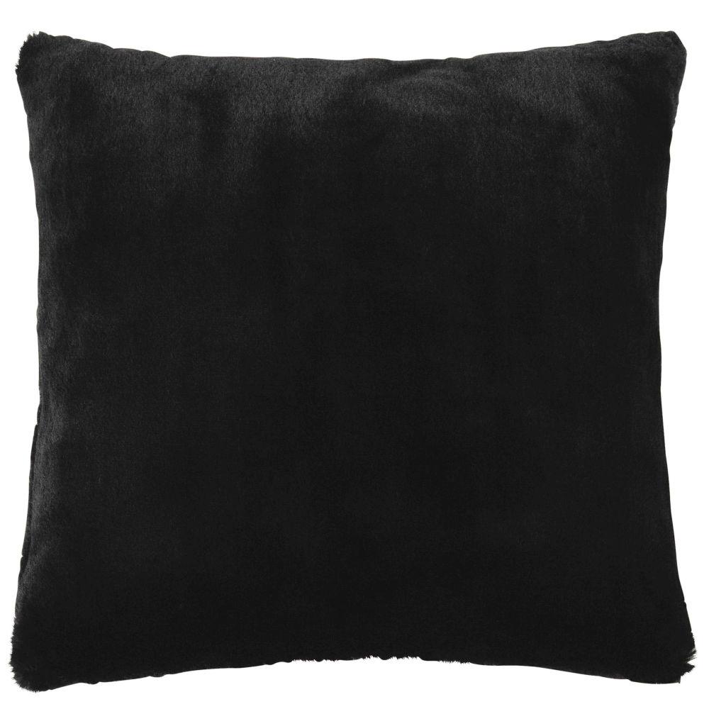 Coussin imitation fourrure noire 45x45