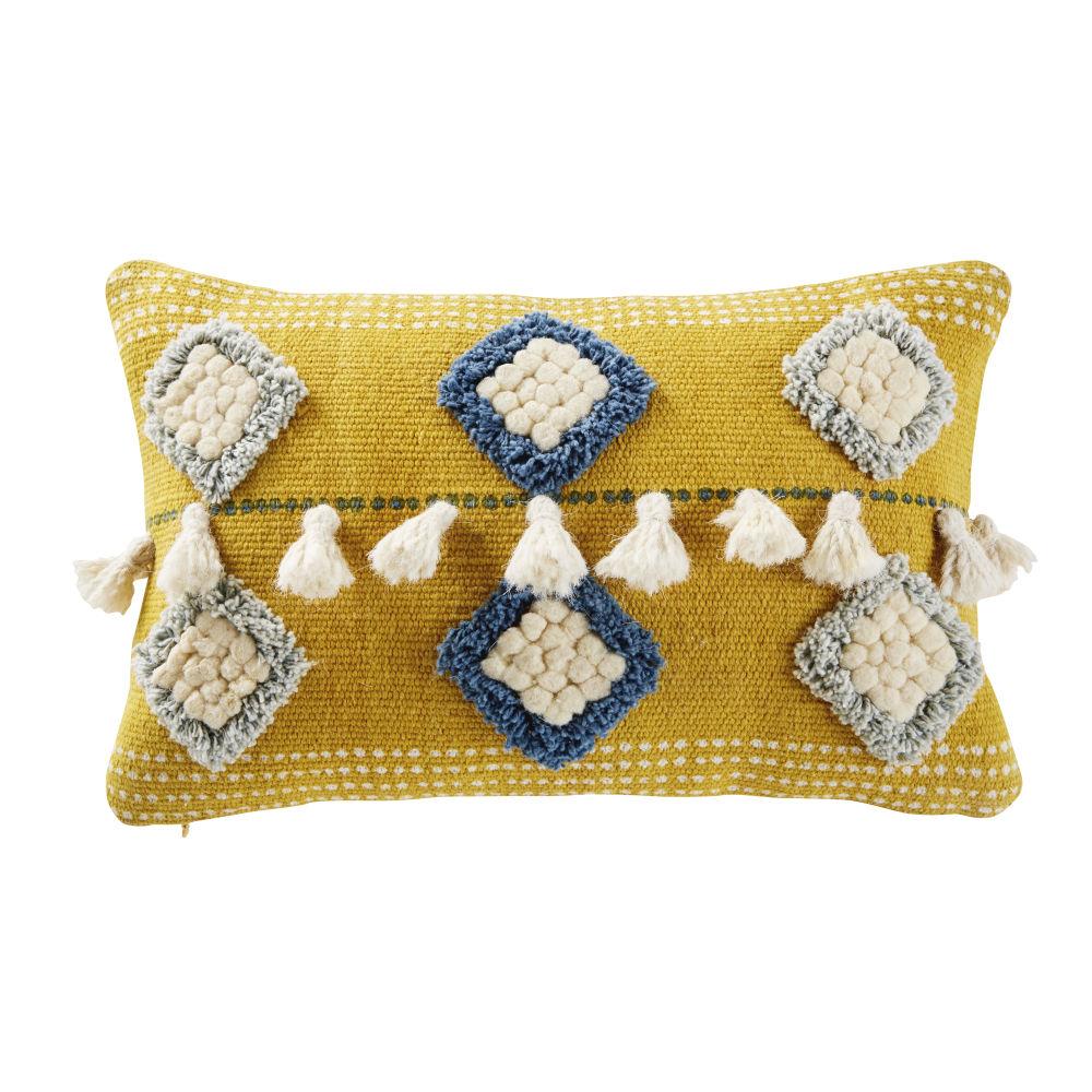 Coussin jaune motifs tuftés bleus et écrus à pompons 25x40