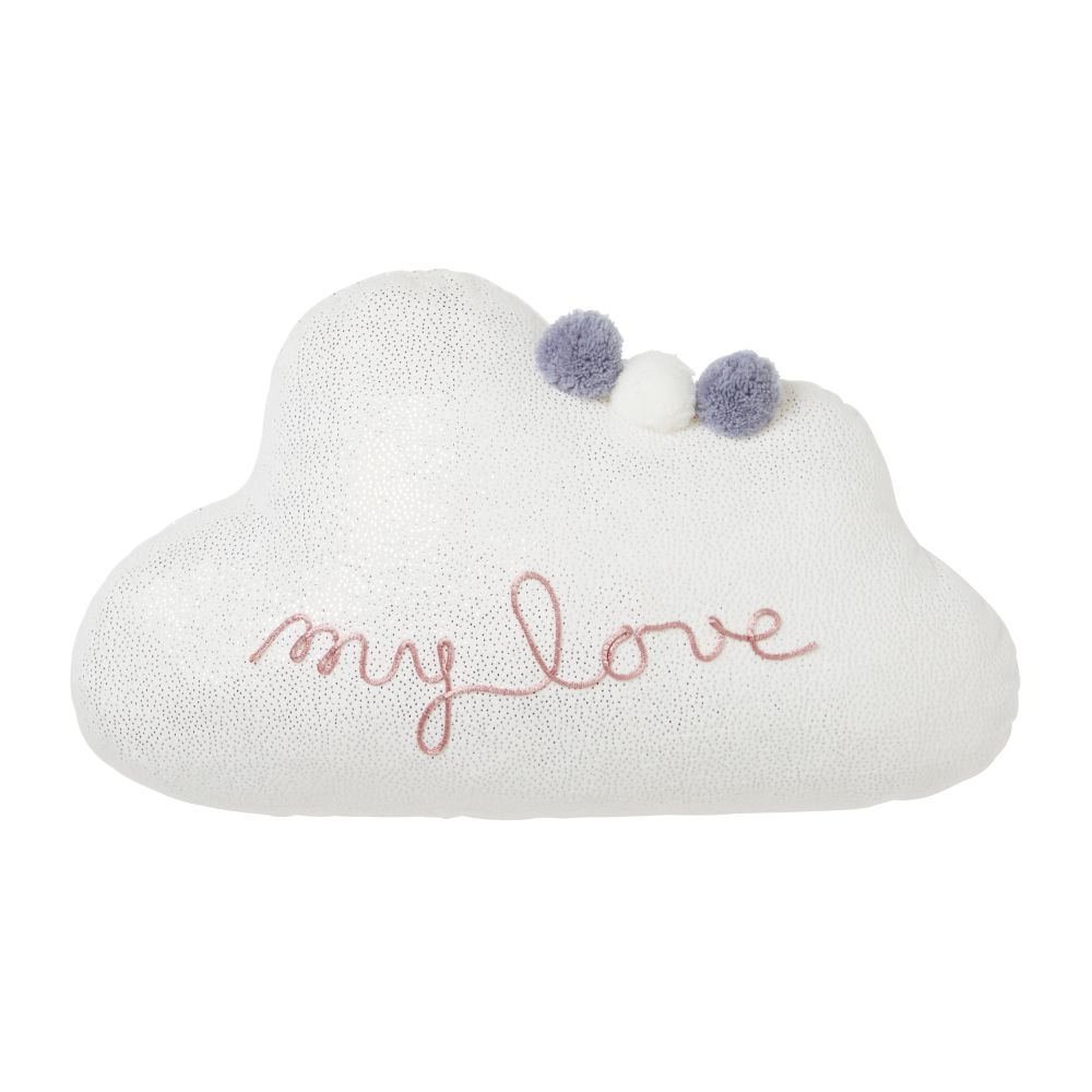 Coussin nuage blanc brodé à pompons 25x40