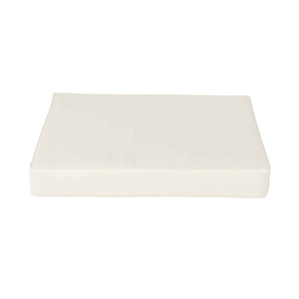 Coussin pour pouf de jardin blanc (photo)