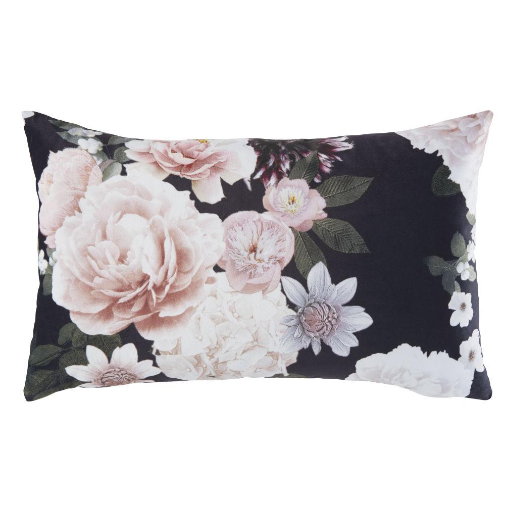 Coussin rose et noir motif floral 30x50