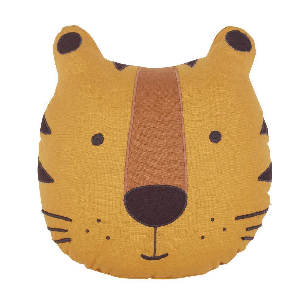 Coussin tigre en coton jaune moutarde, gris anthracite et marron 32x32