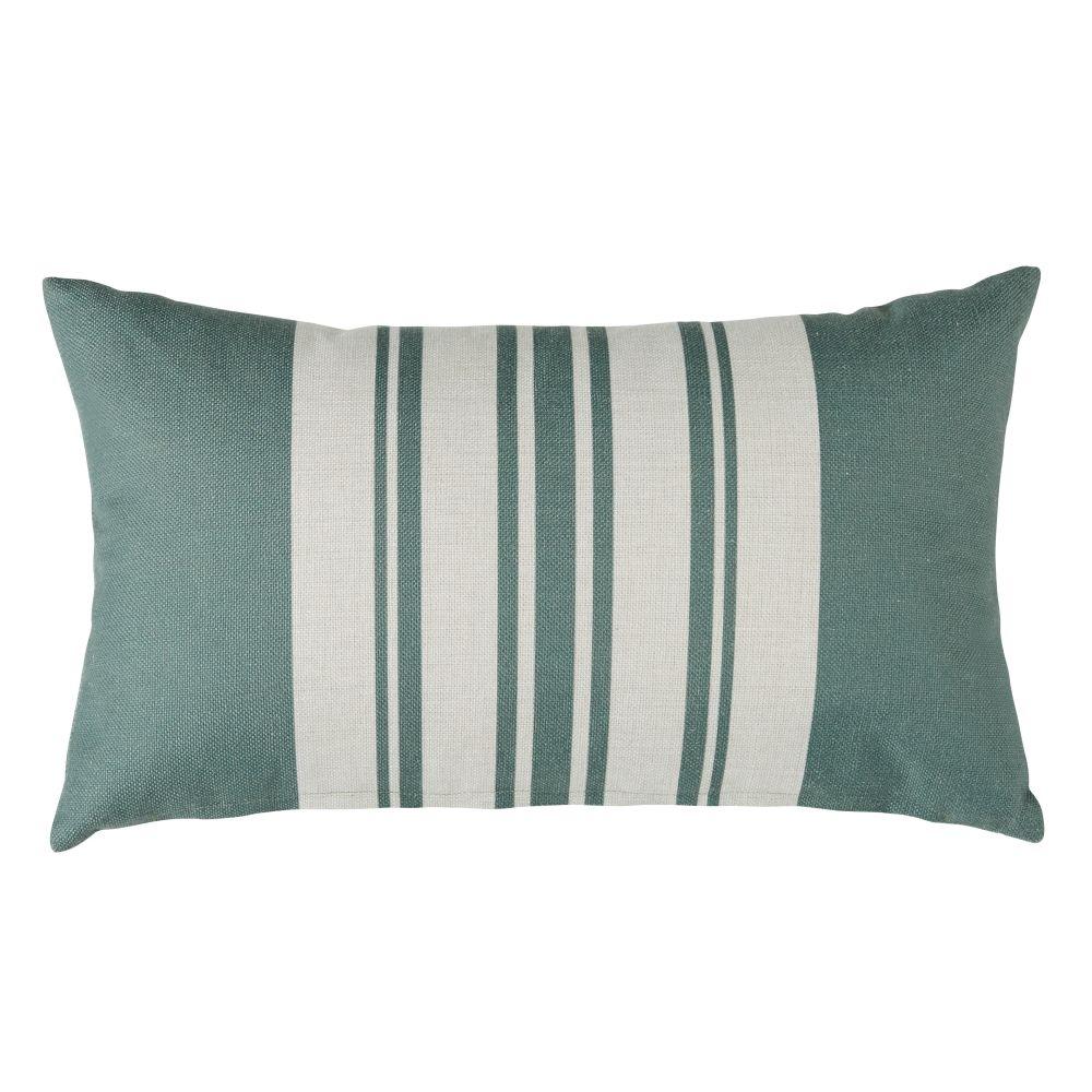 Coussins d'extérieur motifs à rayures vertes et écrues 30x50