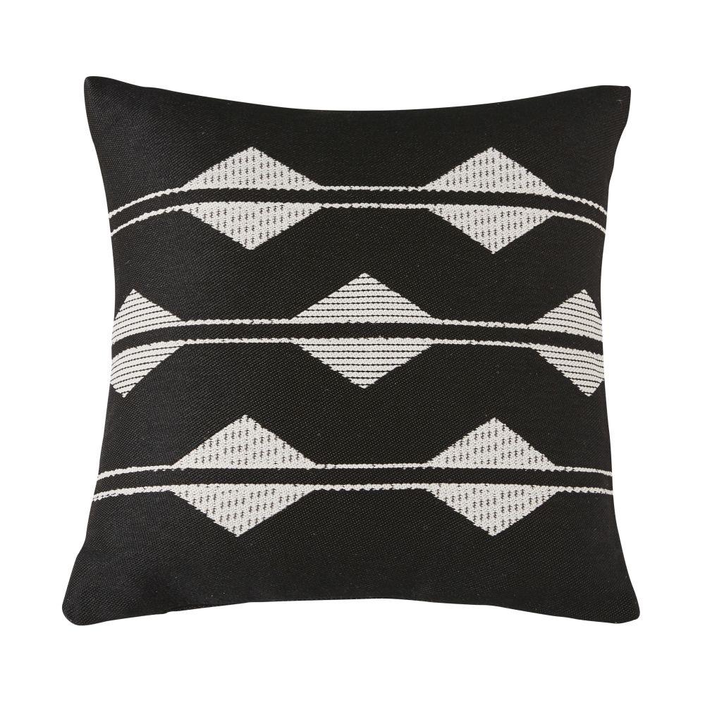 Coussins d'extérieur tissé motifs graphiques noirs et blancs 45x45