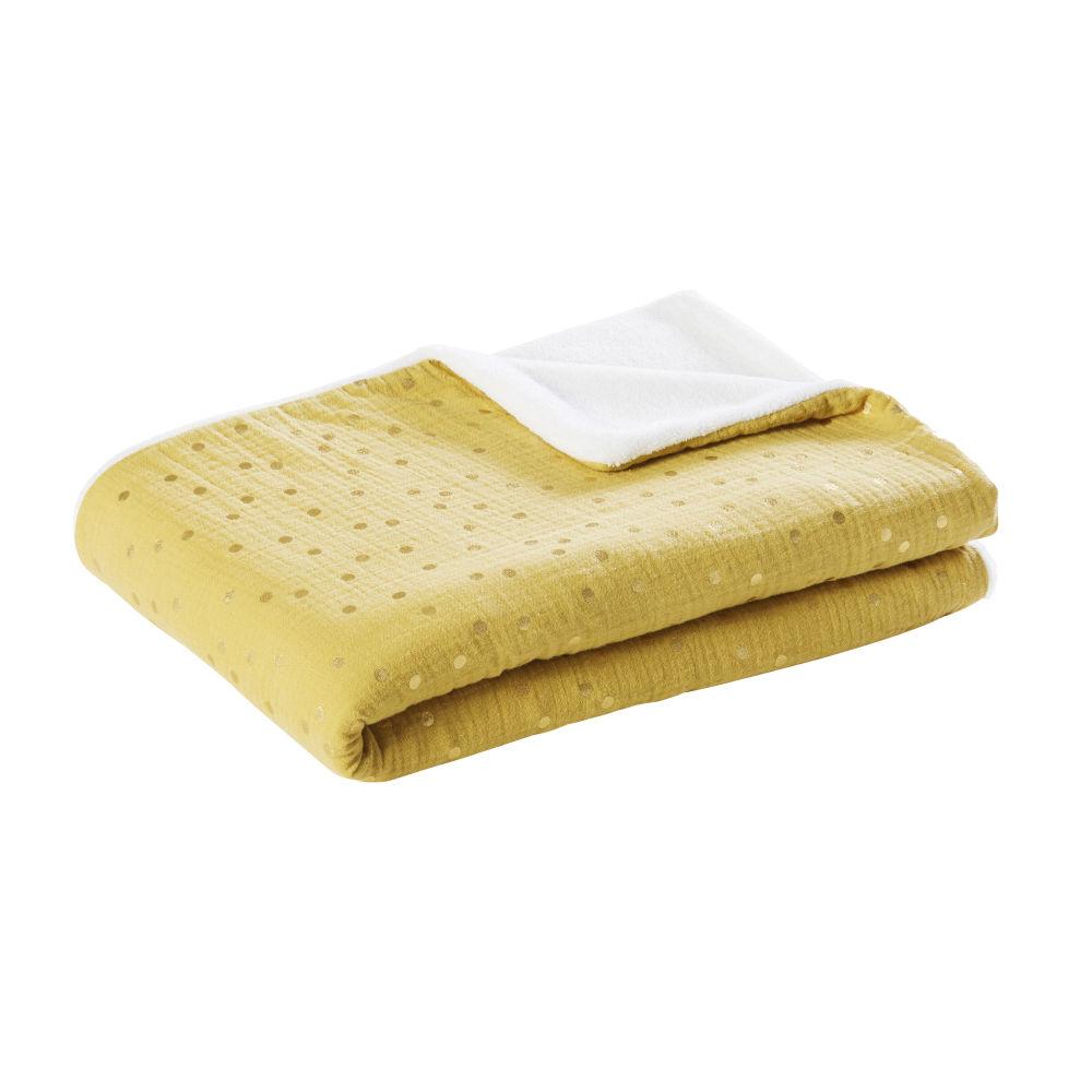 Couverture bébé en coton bicolore motifs à pois dorés 75x100