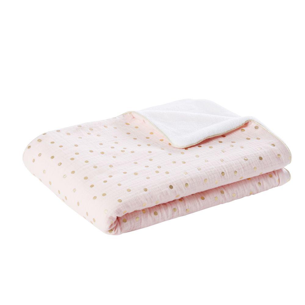 Couverture bébé rose et blanche motifs à pois dorés 75x100