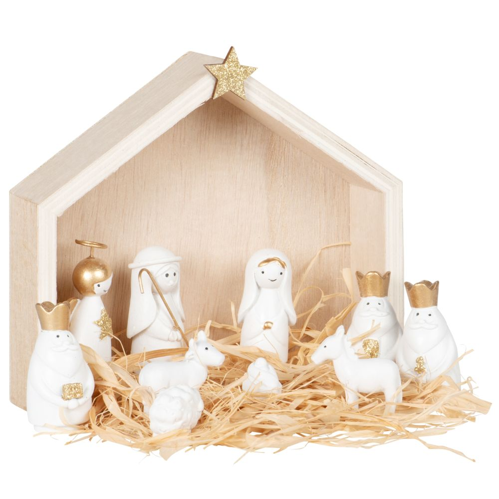 Crèche de Noël blanche et dorée