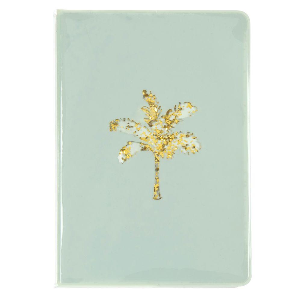 Cuaderno de notas de plástico azul con motivo decorativo de palmera dorada