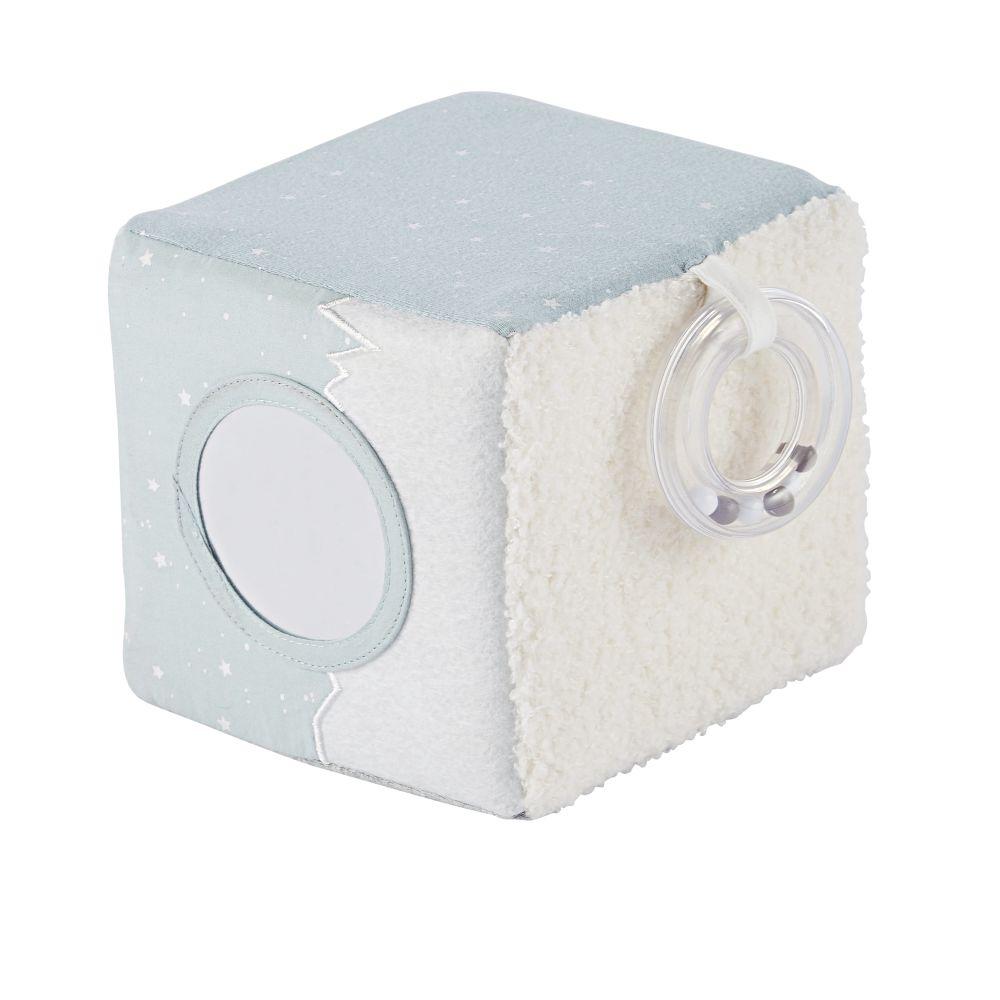 Cube d'éveil bébé blanc, gris et bleu avec grelot