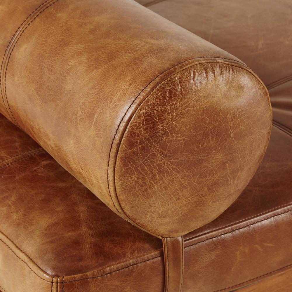 Daybed vintage en cuir marron