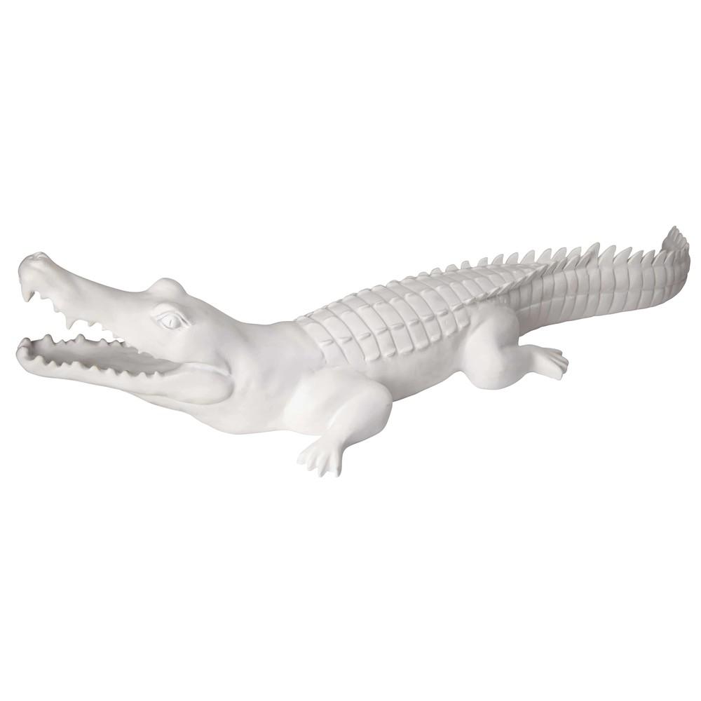 Déco crocodile blanc mat L.88cm