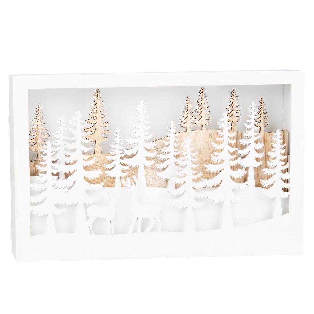 Déco de Noël lumineuse décor coloris blanc et naturel