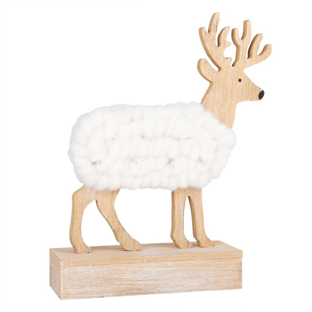 Déco de Noël lumineuse renne coloris écru et naturel