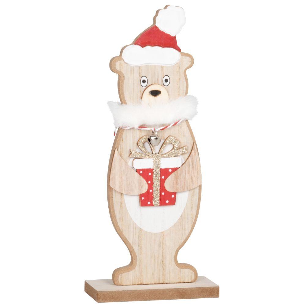 Déco de Noël ourson avec cadeau beige, rouge, blanc et doré