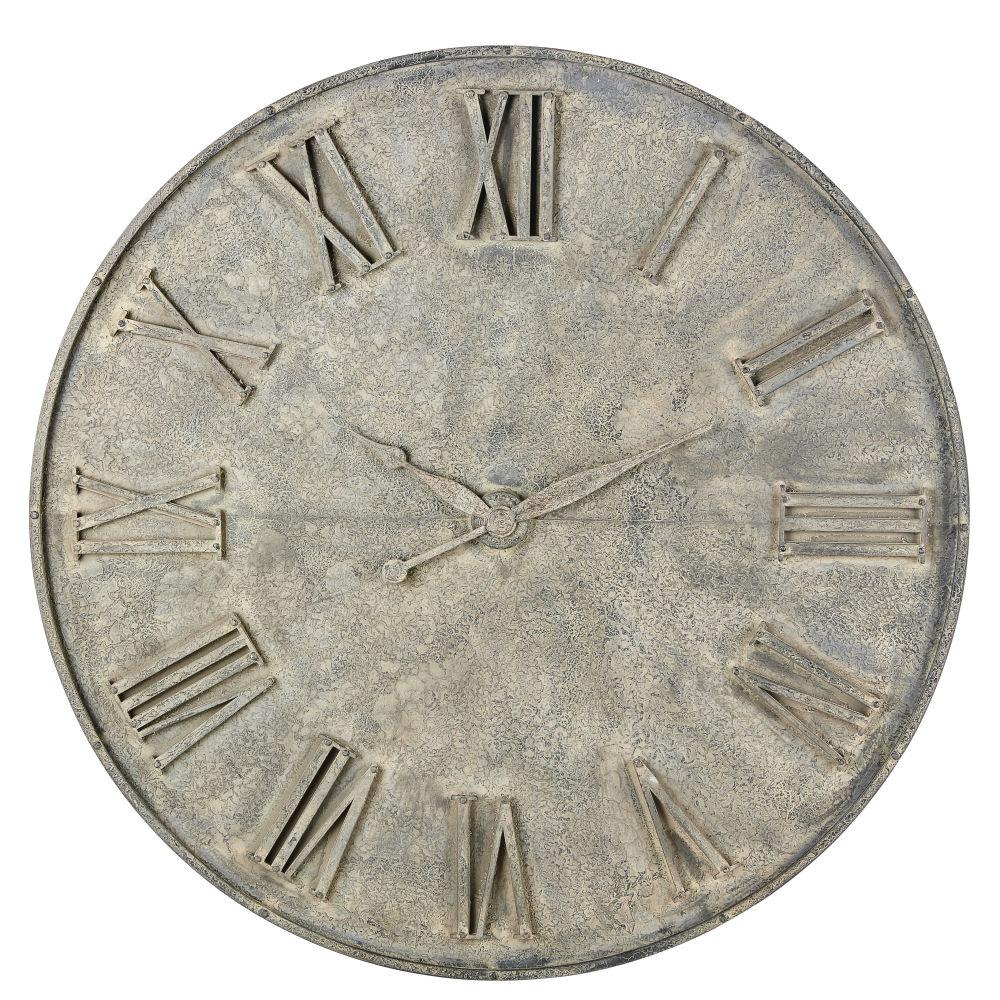 Déco horloge factice en métal gris effet vieilli D160