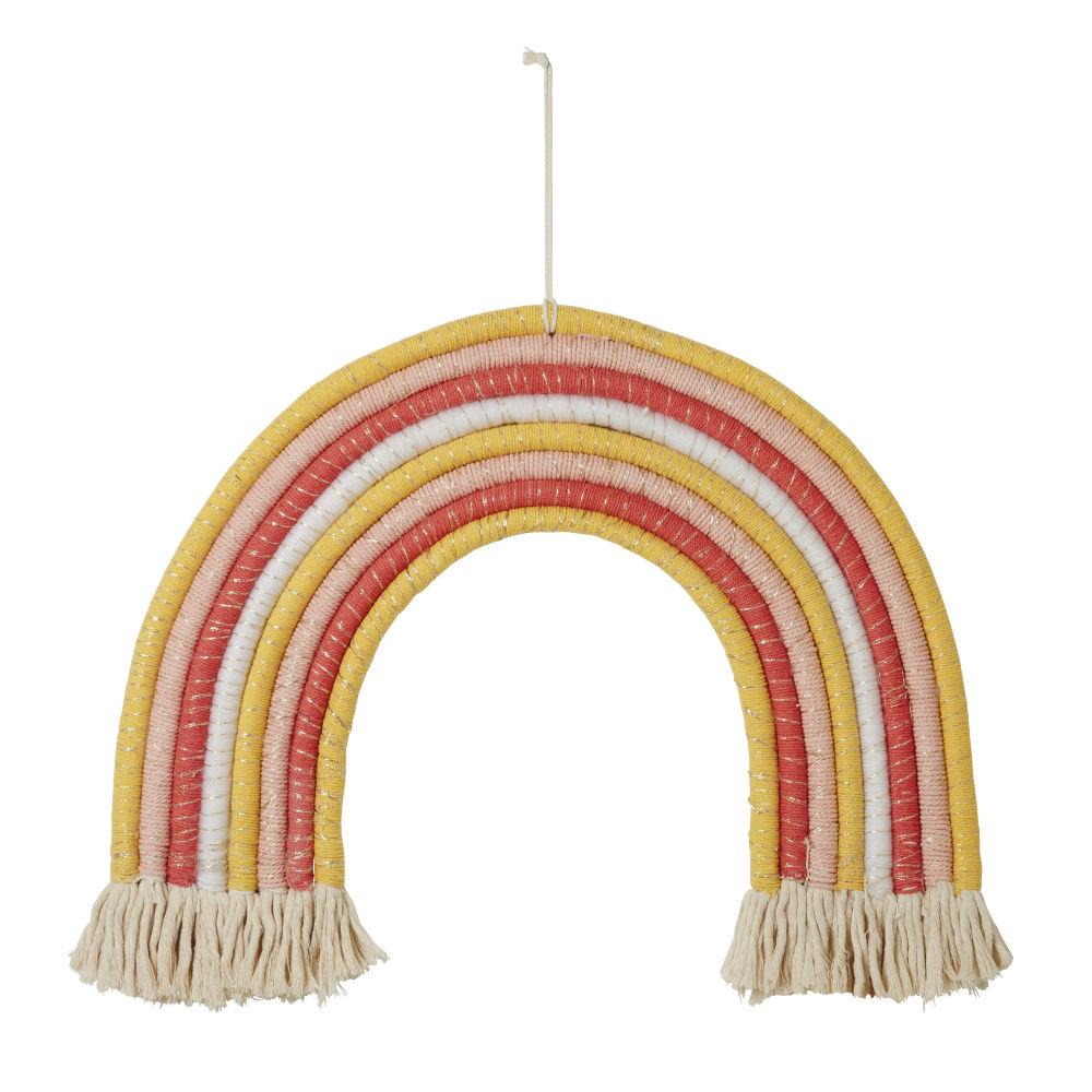 Déco lumineuse arc-en-ciel en coton et corde multicolore