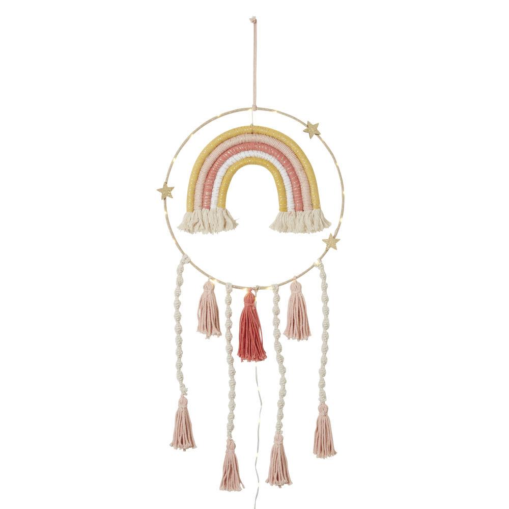 Déco lumineuse attrape-rêves en coton et corde