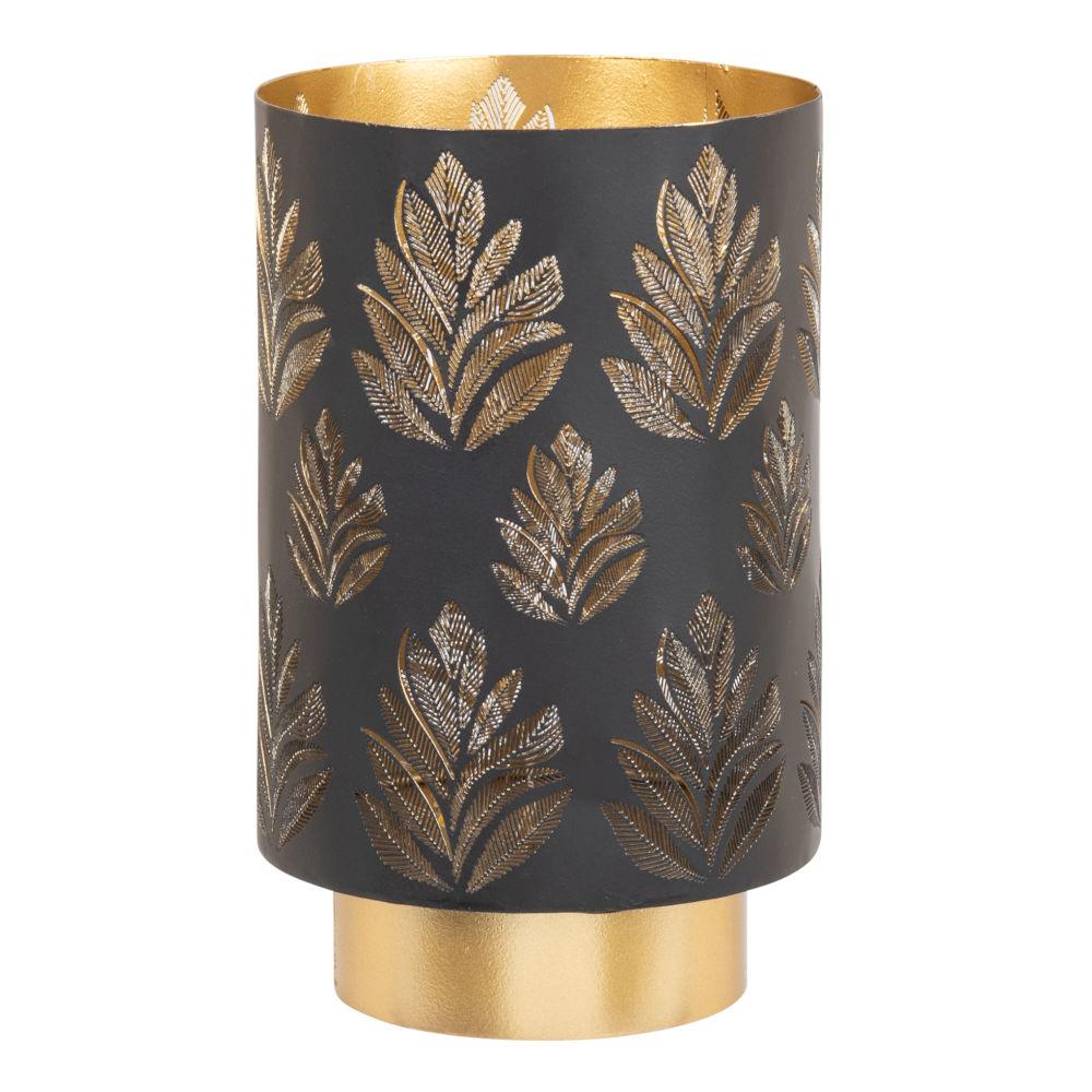 Déco lumineuse en métal noir et doré motifs feuilles ajourées