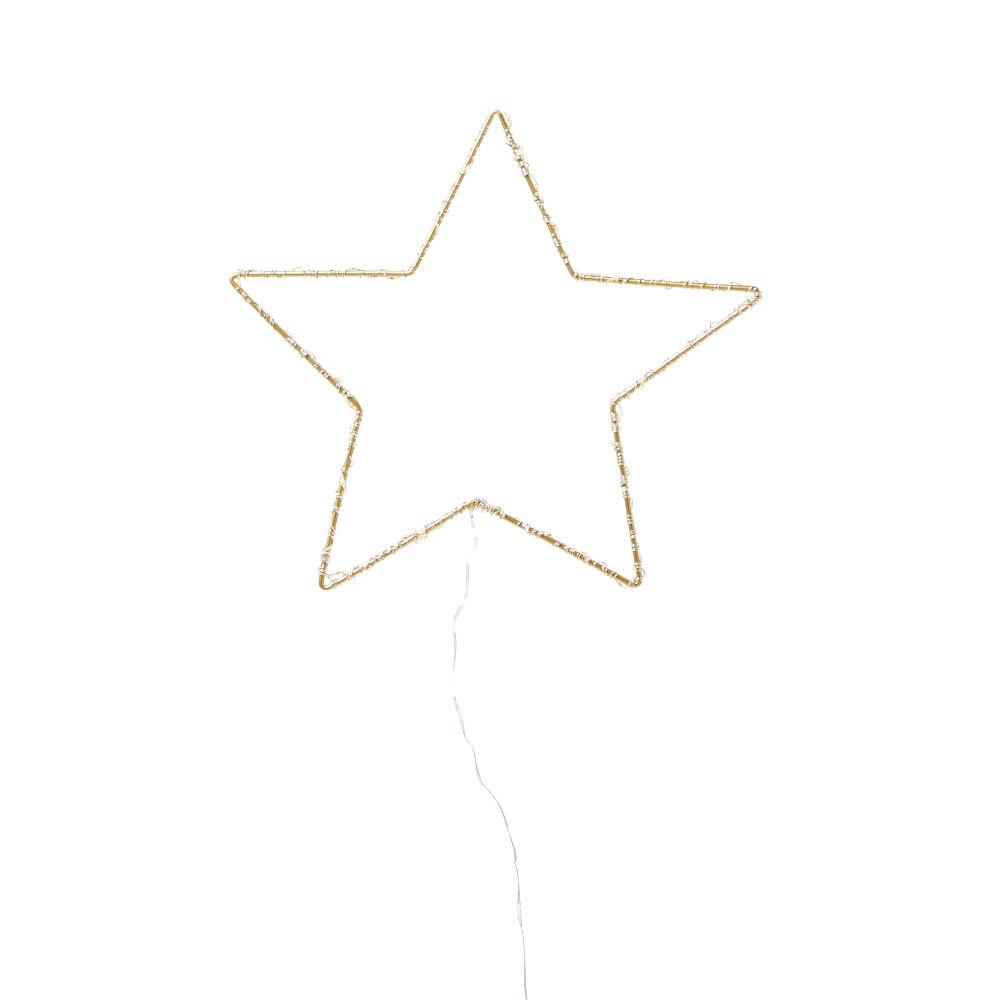 Déco lumineuse étoile en métal doré