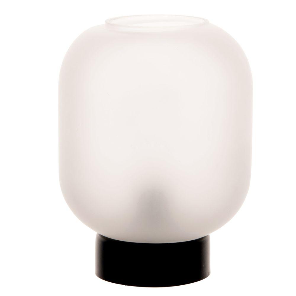Déco lumineuse globe en verre teinté blanc et métal noir