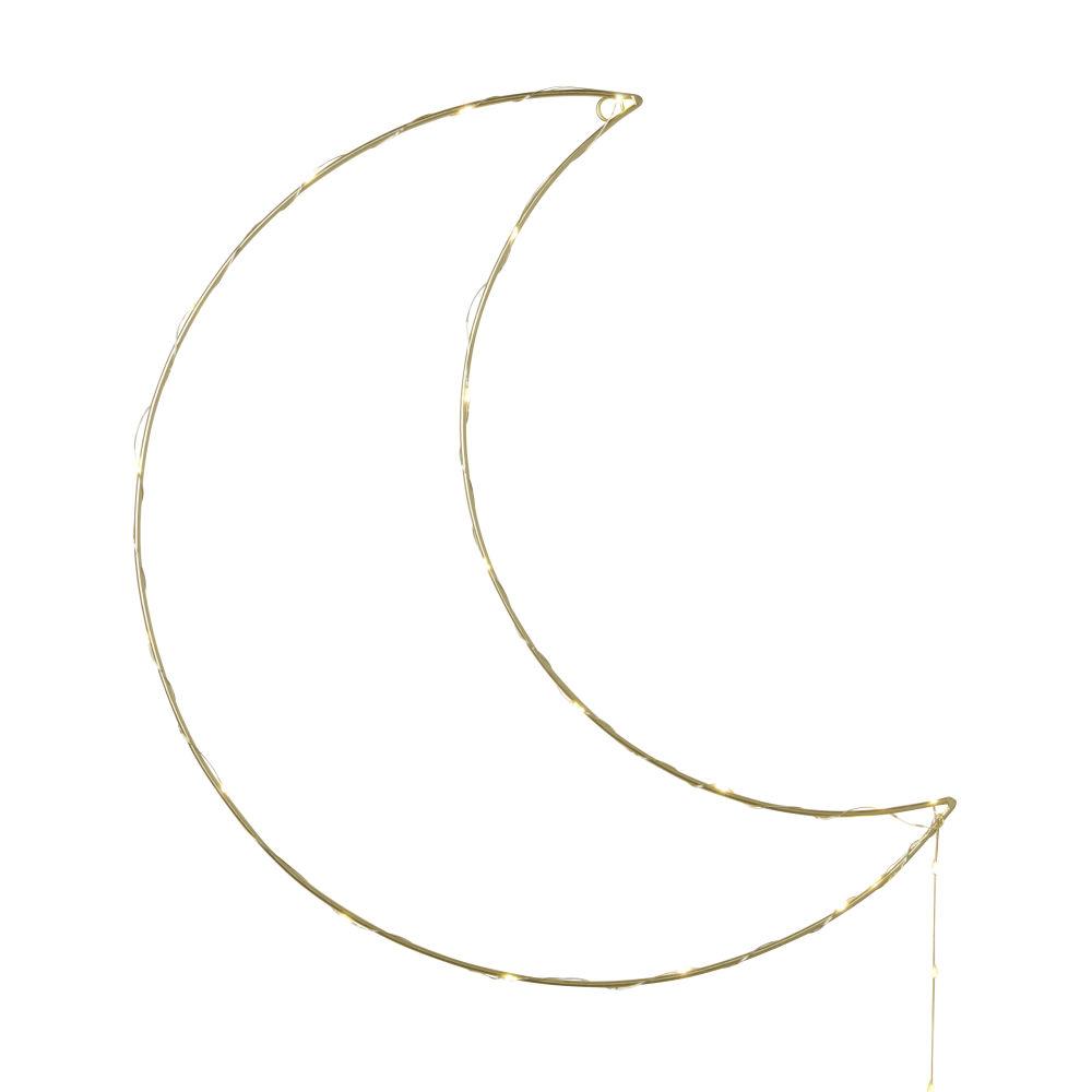 Déco Lumineuse Lune En Métal Doré