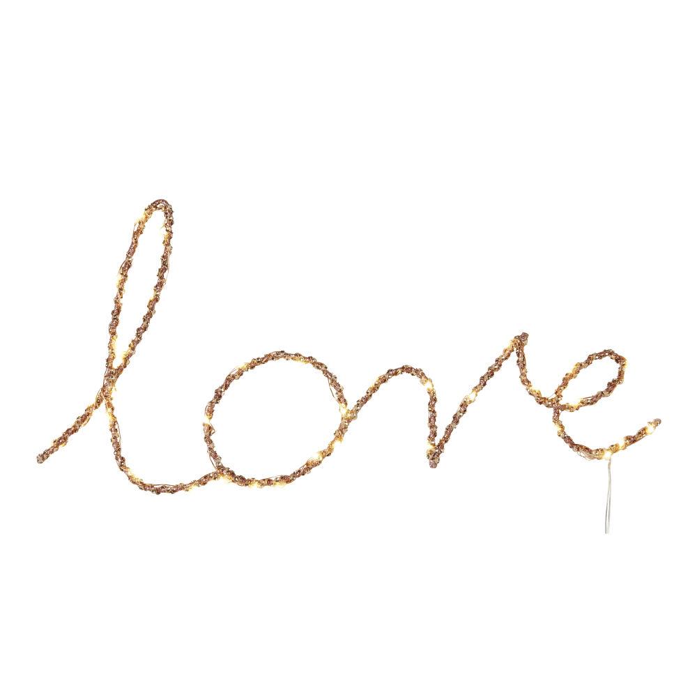 Déco mot lumineux Love en métal doré