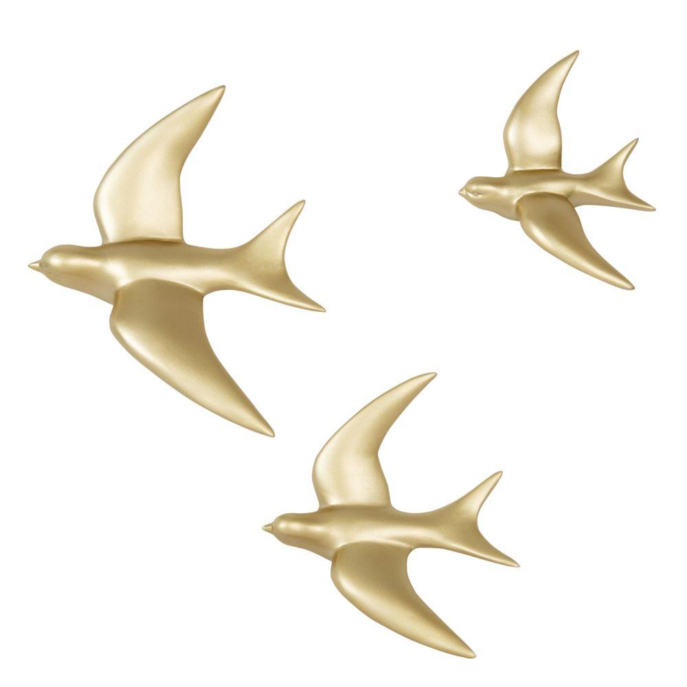 Déco murale 3 oiseaux dorés