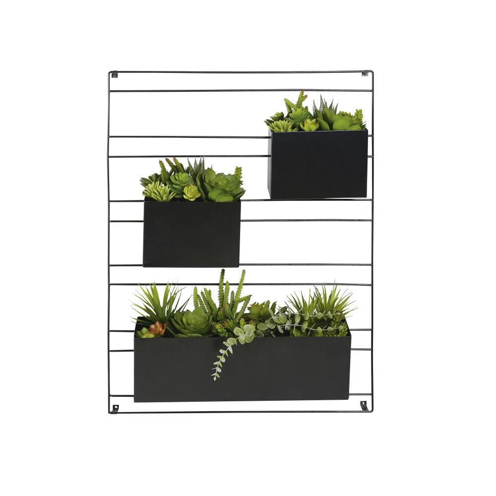 Déco murale 3 plantes artificielles en pot