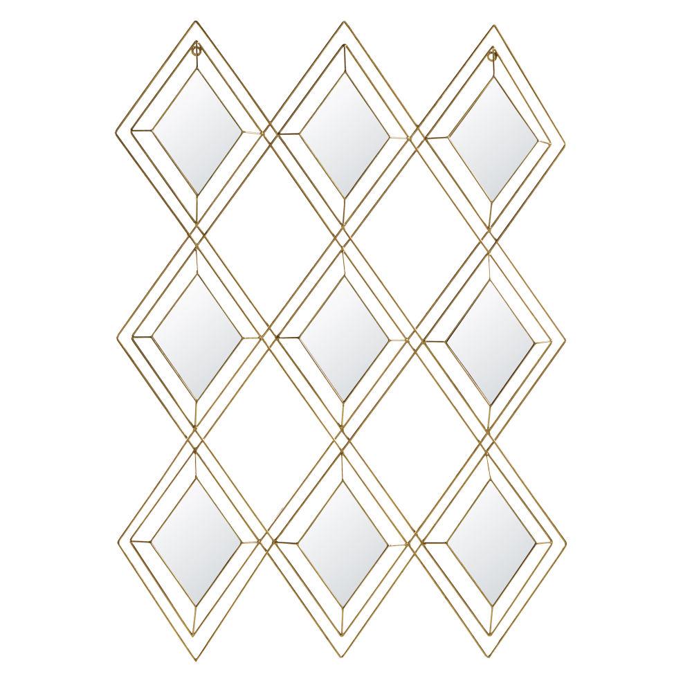 Déco murale 9 miroirs en métal doré 72x102