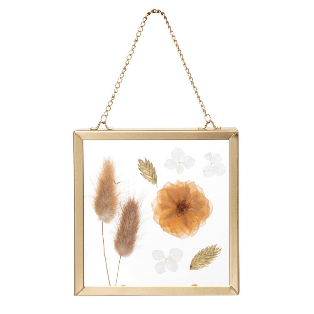 Déco murale à suspendre en métal doré et fleurs séchées beiges 12x12