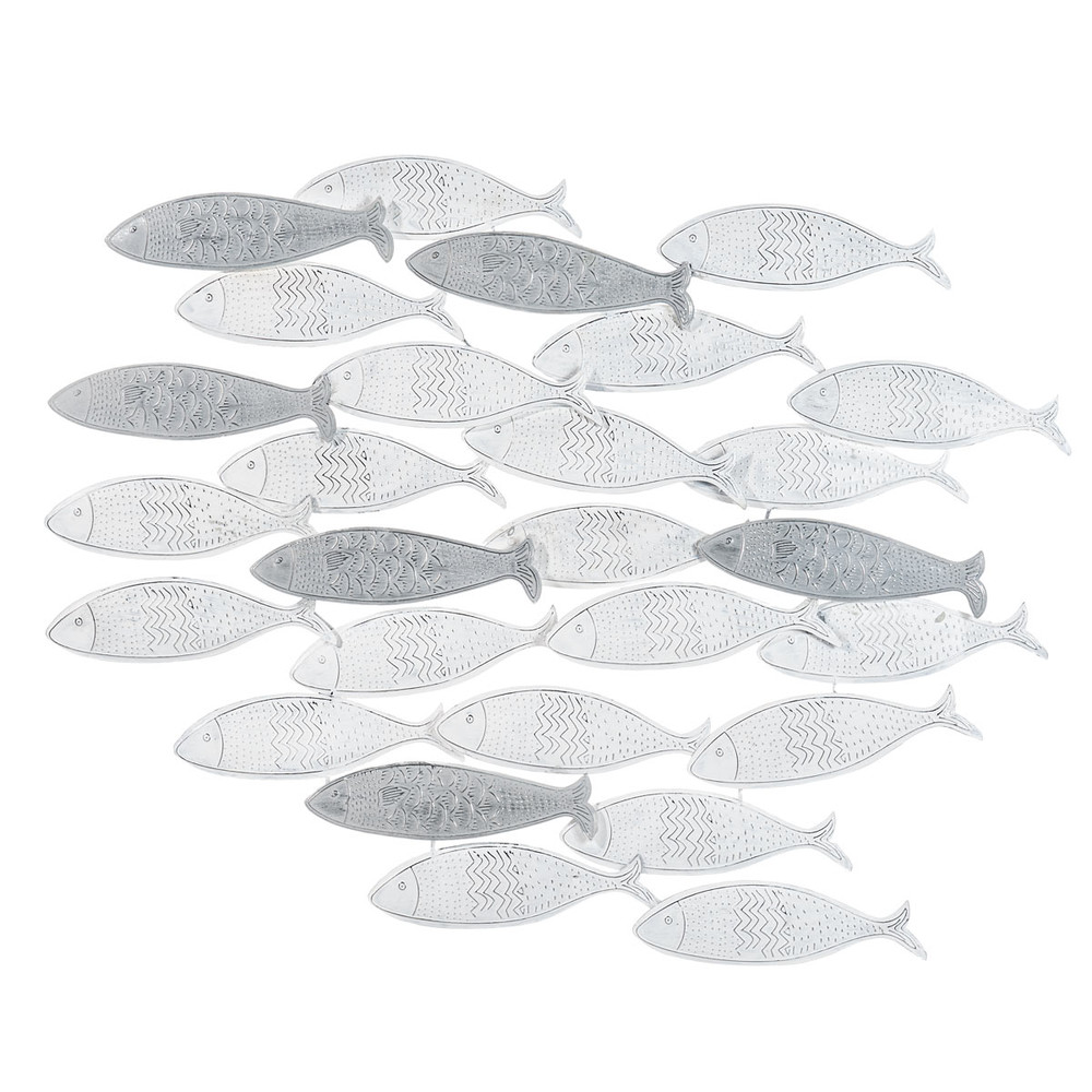 Déco murale banc de poissons en métal 70x56