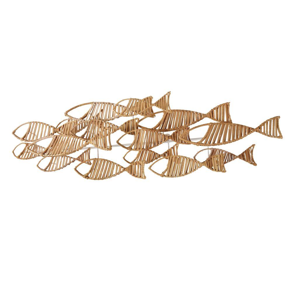 Déco murale banc de poissons en rotin et métal blanc 107x34