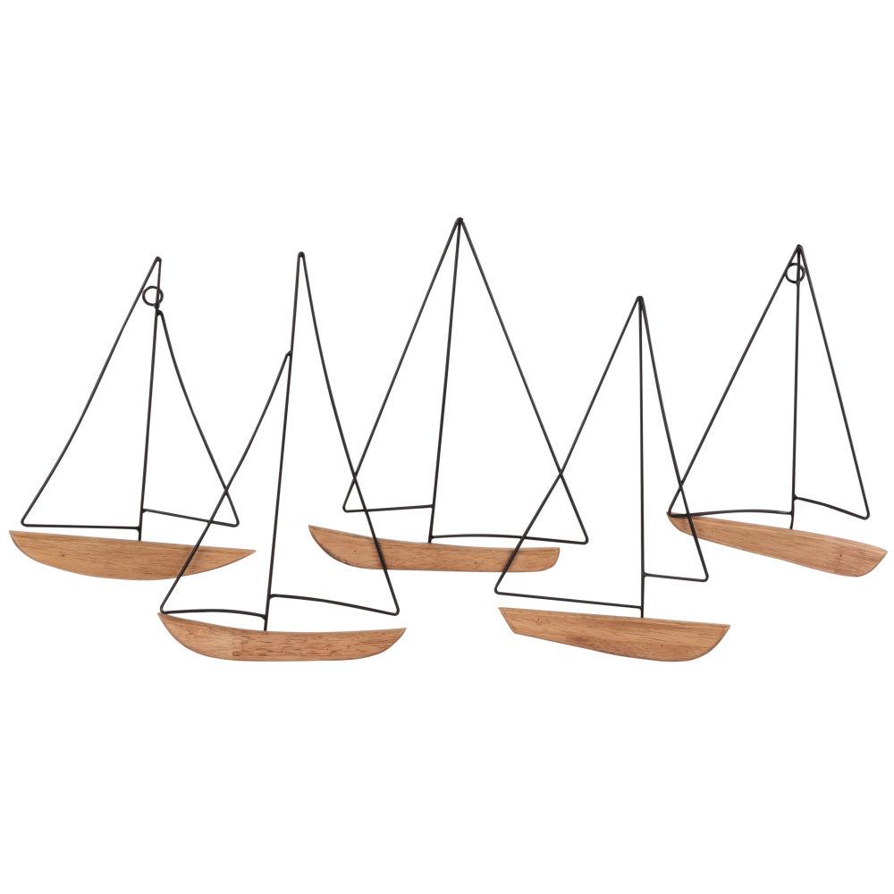 Déco murale bateaux en métal et hévéa 65x34