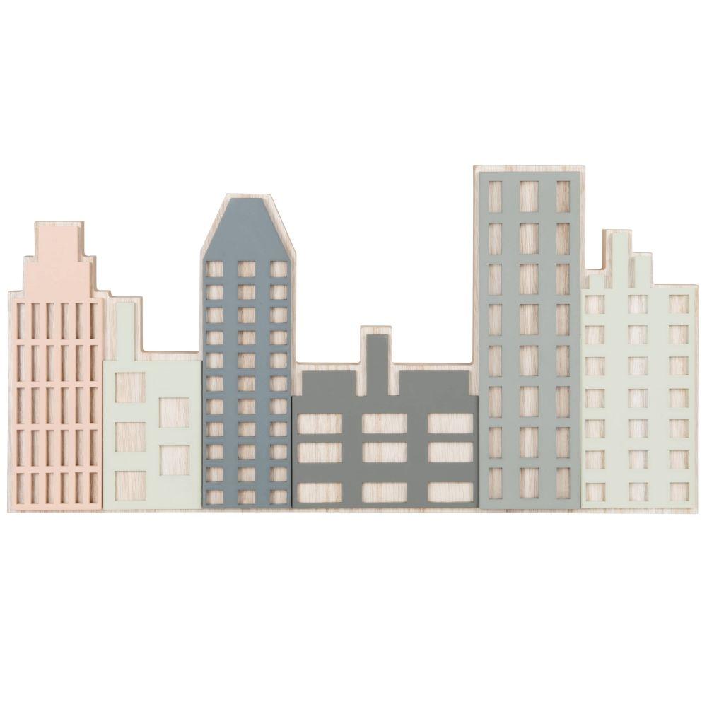 Déco murale bâtiments roses, beiges, gris et bleus 50x26