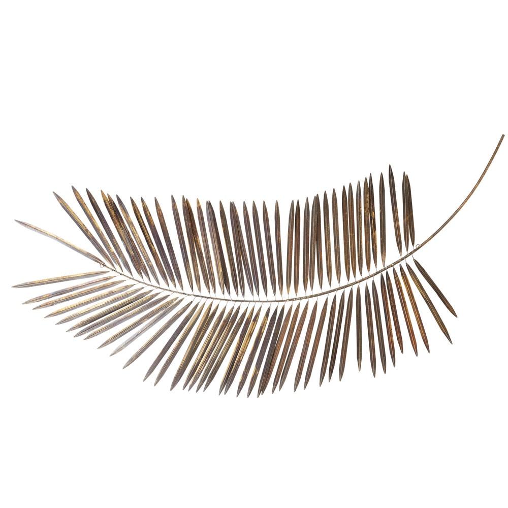 Déco murale branche de palmier en métal doré 82x163
