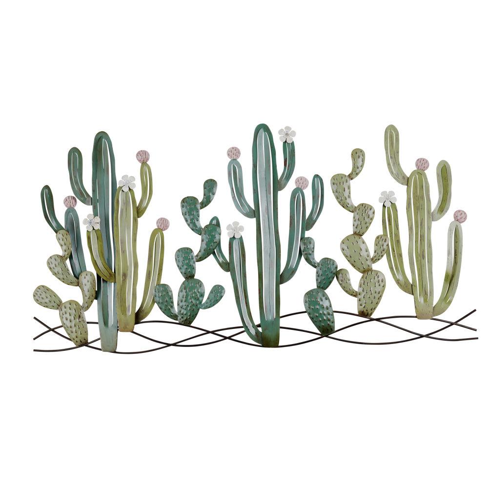 Déco murale cactus en métal 136x68