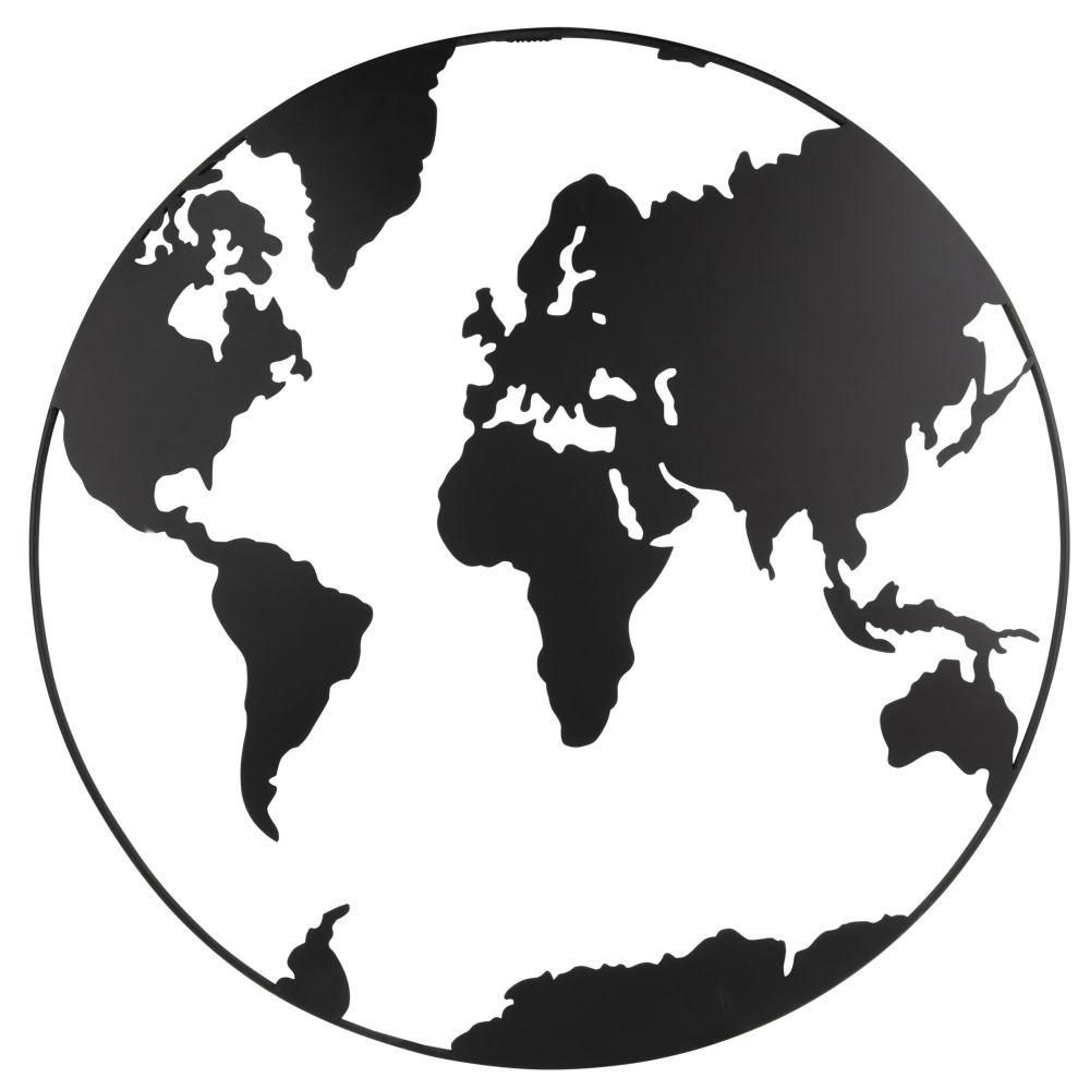 Déco murale carte du monde en métal ajouré noir D80