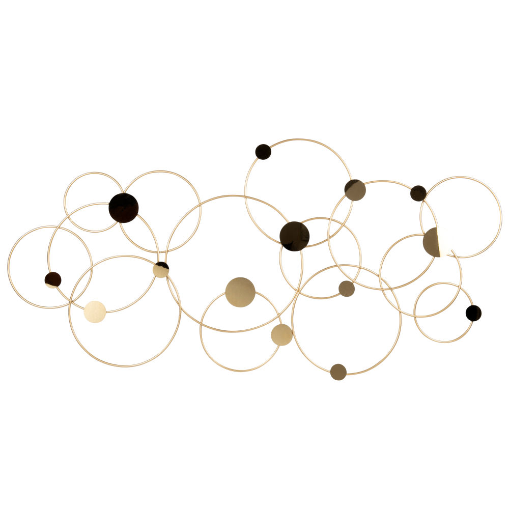 Déco murale cercles en métal doré 90x45