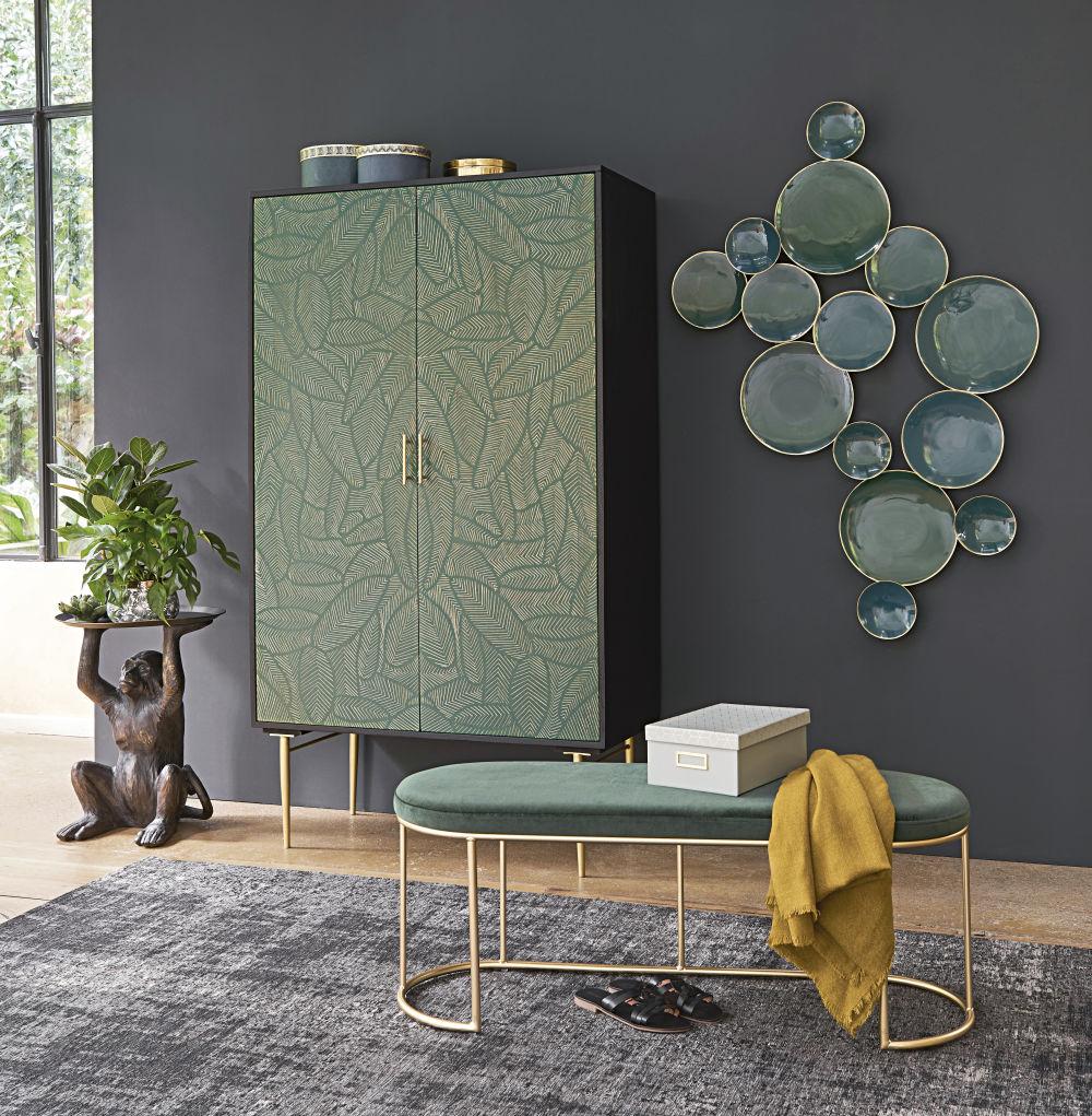 Déco murale concaves en métal vert et doré 125x76
