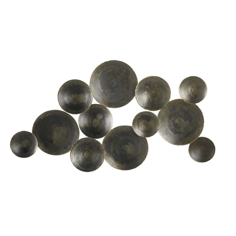 Déco murale disques en métal ciselé noir et doré 129x72