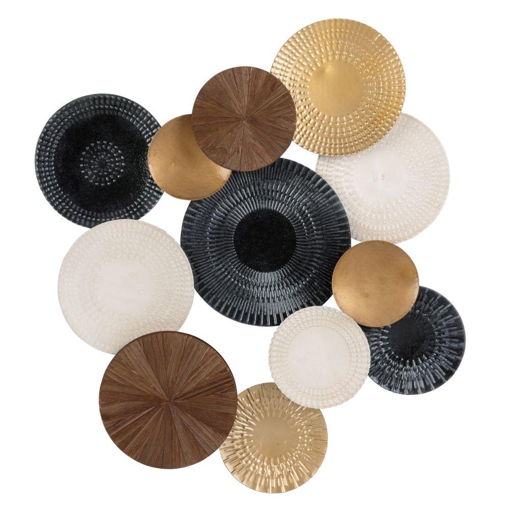 Déco murale disques en métal noir, doré et blanc 57x58