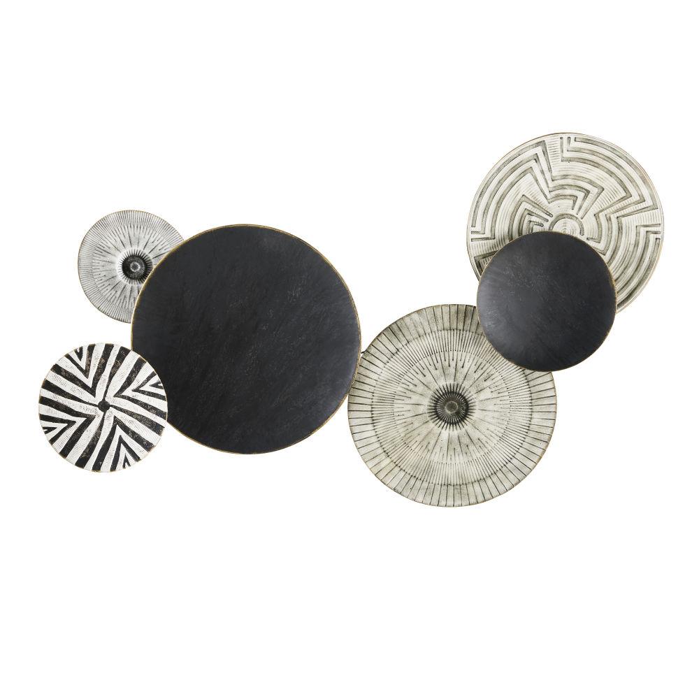 Déco murale disques en métal noir et gris gravé 86x138
