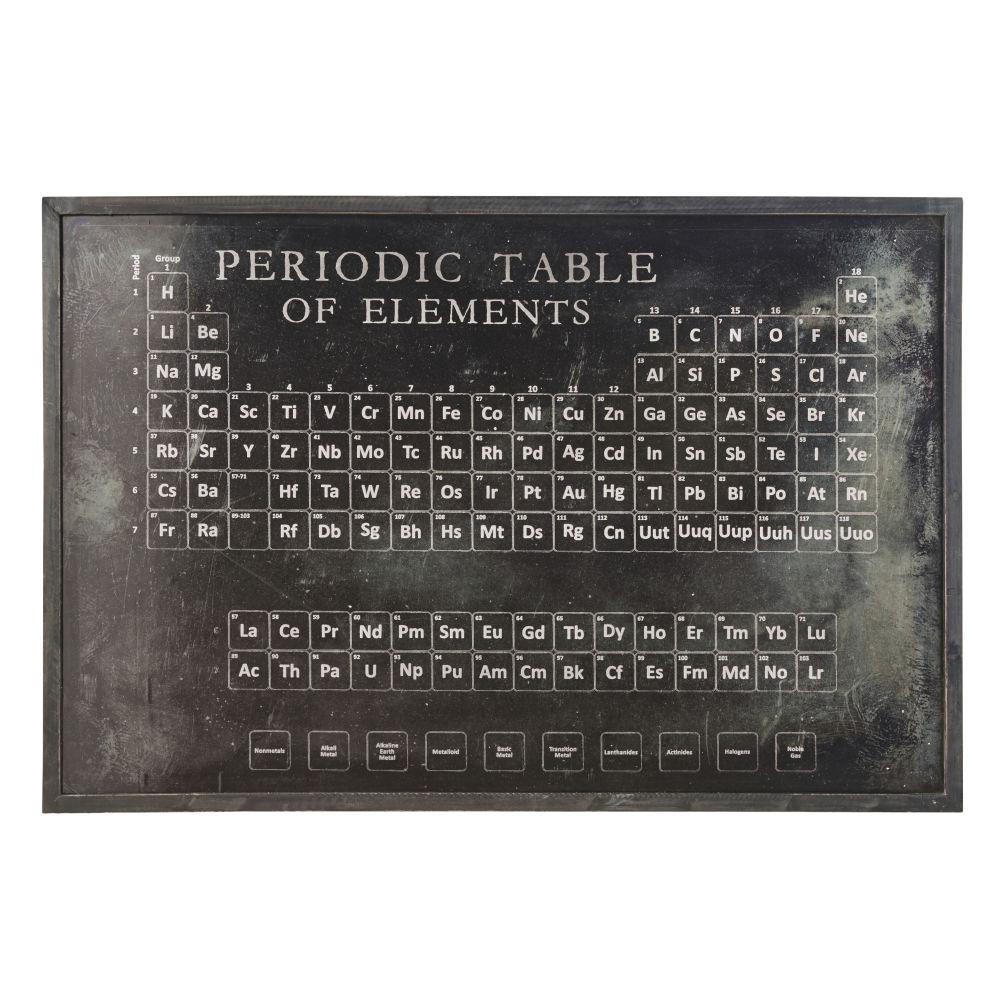 Déco murale éléments périodiques en métal noir 120x80