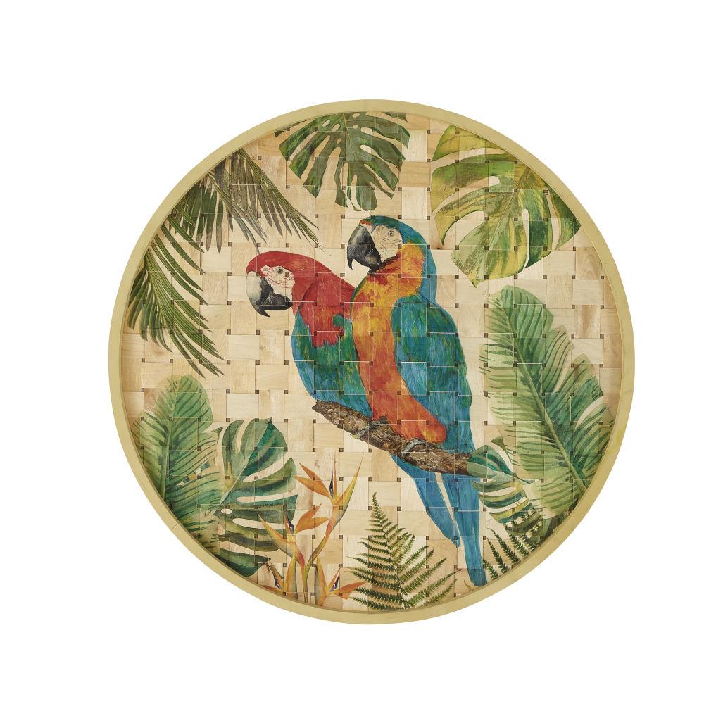 Déco murale en bambou imprimé perroquets D80