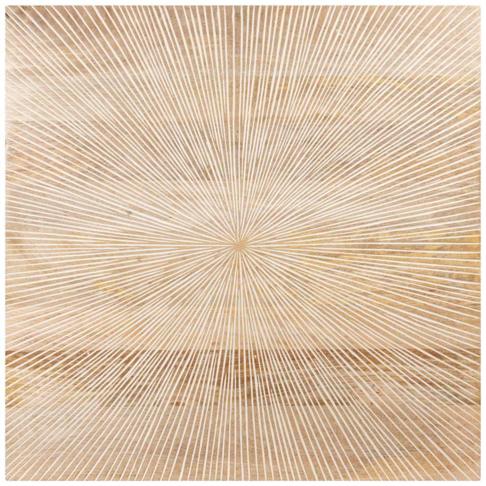 Déco murale en manguier beige 60x60