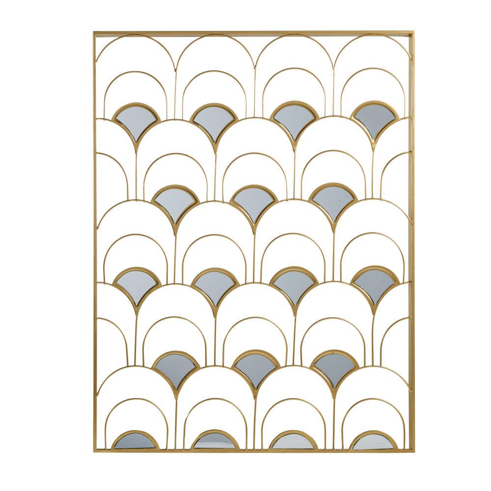 Déco murale en métal doré et miroir 69x90