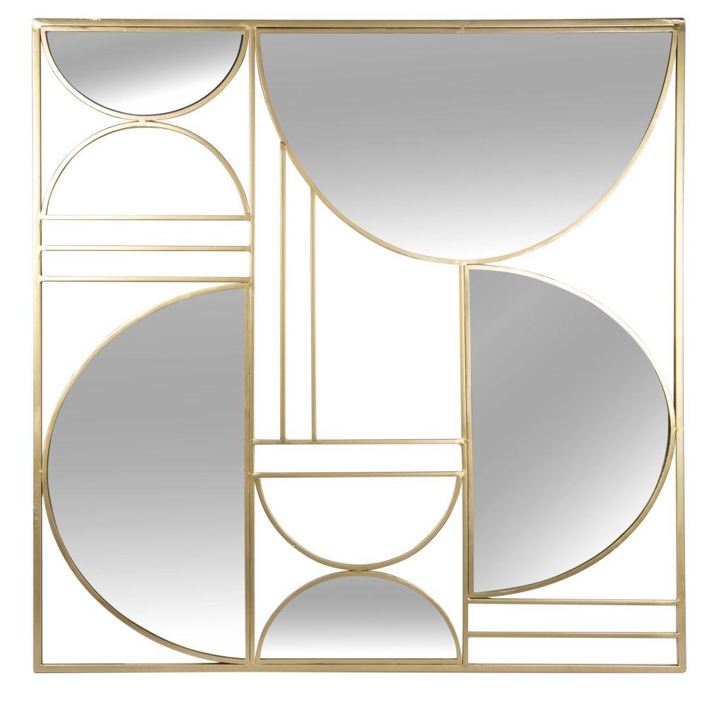 Déco murale en métal doré et miroir 80x80