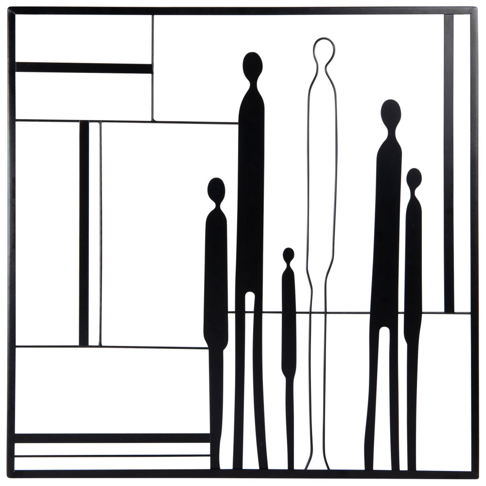 Déco murale en métal noir 50x50